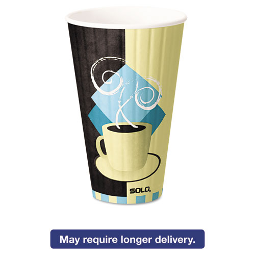 Duo Shield Insulated Paper Hot Cups, 20oz, Tuscan, Chocolate/Blue/Beige, 350/Ct IC20J7534