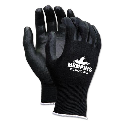Economy PU Coated Work Gloves, Black, Small, 1 Dozen