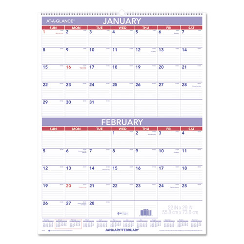 Two Month Wall Calendar 22 X 29 2019