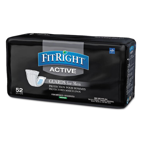 "Medline FitRight Active Male Guards, 6"" x 11"", White, 52/Pack"