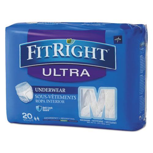 FitRight Ultra Protective Underwear, Medium, 28 to 40 Waist, 20/Pack, 4 Pack/Carton