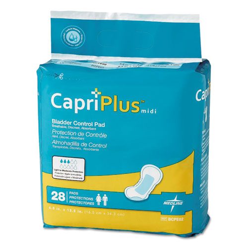 Capri Plus Bladder Control Pads, Extra Plus, 6.5 x 13.5, 28/Pack, 6/Carton