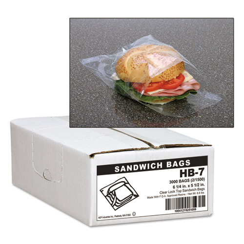 Jumbo Sandwich Bags, 0.7 mil, 5.5 x 6.25, Clear, 3,000/Carton