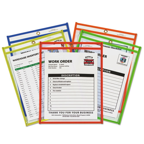 """Stitched Shop Ticket Holder, Neon, Assorted 5 Colors, 75"""", 9 x 12, 25/BX"""