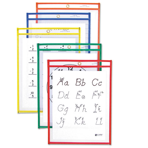 C-Line® Reusable Dry Erase Pockets, 9 x 12, Assorted Primary Colors, 10/Pack