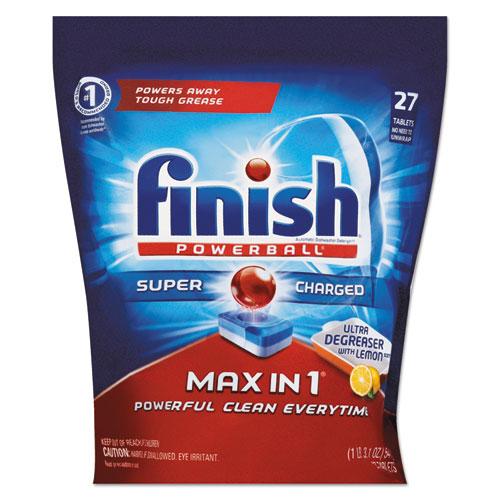 FINISH® Powerball SuperCharged Ultra Degreaser Dishwasher Tabs, Lemon, 43/PK, 4 PK/CT