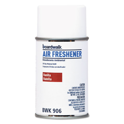 Metered Air Freshener Refill, Vanilla Bean, 5.3 oz Aerosol, 12/Carton