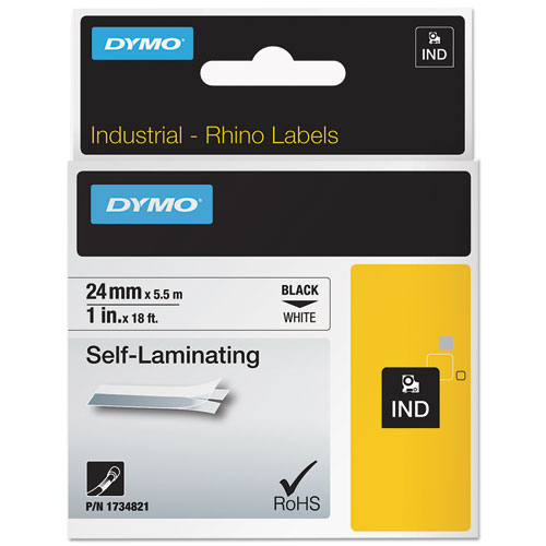Industrial Self-Laminating Labels, 1 x 18 ft, White