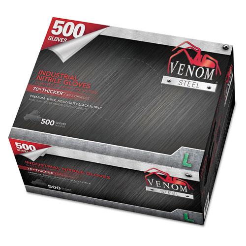 Medline Venom Steel Industrial Nitrile Gloves, Large, Black, 6 mil, 500 Gloves/Box