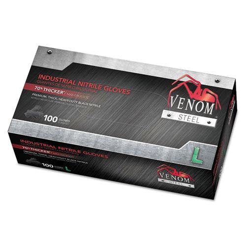 Venom Steel Industrial Nitrile Gloves, Large, Black, 6 mil, 100/Box