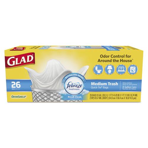 """Glad® OdorShield Medium Quick-Tie Trash Bags, 8 gal, 0.57 mil, 21.63"""" x 23"""", White, 26/Box"""