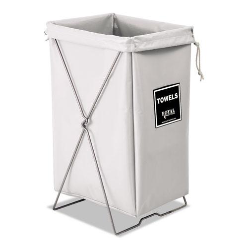 Towel Hamper, Hamper Bag and Stand, Steel/Vinyl, 30 gal, 15w x 16d x 30h, White