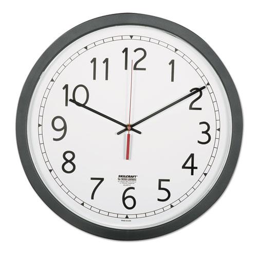 6645016238824 SKILCRAFT Quartz Wall Clock, 16.5 Overall Diameter, Black Case, 1 AA (sold separately)