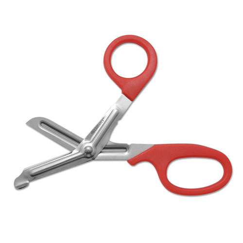 Stainless Steel Office Snips, 7 Long, 1.75 Cut Length, Red Offset Handle