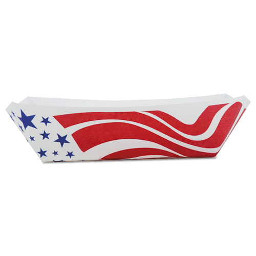 American Flag Paper Food Baskets, Red/White/Blue, 1 lb Capacity, 1000/Carton