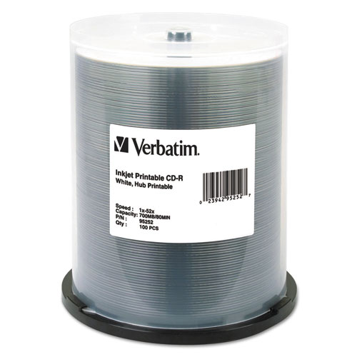Verbatim - hub ij printable cd-r discs, 700mb/80min, 52x, spindle, white, 100/pack, sold as 1 pk