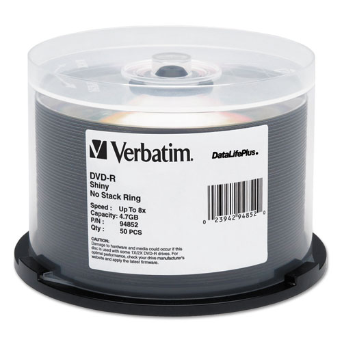 Datalifeplus dvd-r, 4.7gb, 8x, shiny silver silk screen printable, 50/pk spindle, sold as 1 package