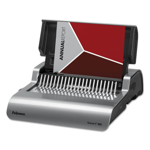 Quasar 500 Electric Comb Binding System, 16 7/8 x 15 3/8 x 5 1/8, Metallic Gray | by Plexsupply