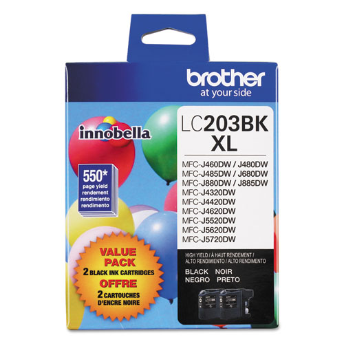 Brother LC2032PKS Innobella High-Yield Ink, 550 Page-Yield, Black, 2/PK