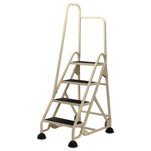 Stop-Step Ladder, 66.25 Working Height, 300 lbs Capacity, 4 Step, Beige