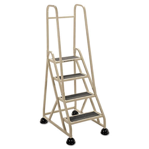 "Four-Step Stop-Step Folding Aluminum Ladder w/Two Handrails, 66 1/4"" High, Beige"