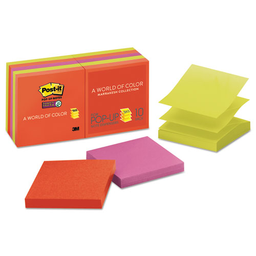 Post-it® Pop-up Notes Super Sticky Pop-up 3 x 3 Note Refill, Marrakesh, 90 Notes/Pad, 10 Pads/Pack
