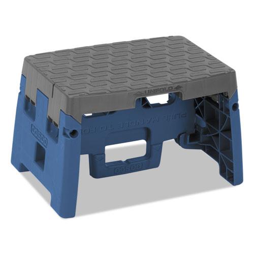 Folding Step Stool, 1-Step, 300 lb Capacity, 8.5 Working Height, Blue/Gray
