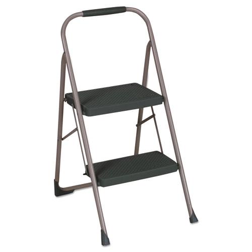 "Cosco® Big Step Folding Stool, 2-Step, 200 lb Capacity, 22"" Spread, Black/Gray"