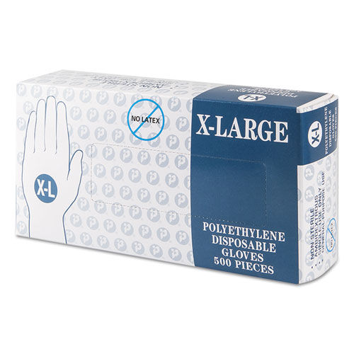 Inteplast Group Embossed Polyethylene Disposable Gloves, X-Large, Powder-Free, Clear