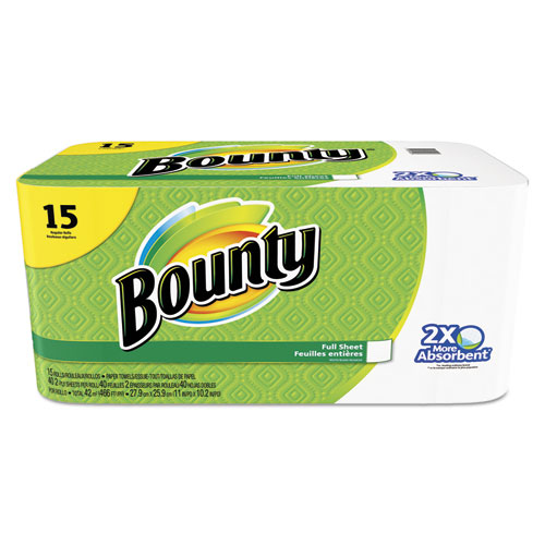 Bounty® Perforated Towel Rolls, 2-Ply, White, 11 x 10 1/5, 40 Sheets/Roll, 15 Roll/Pack