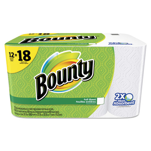 Bounty® Perforated Towel Rolls, 2-Ply, White, 11 x 10 1/5, 60 Sheets/Roll, 12 Roll/Pack