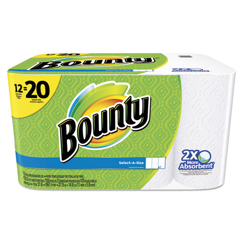 Bounty® Select-a-Size Perforated Roll Towels, 11 x 5.9, White, 105 Sheets/Roll, 12/Pack