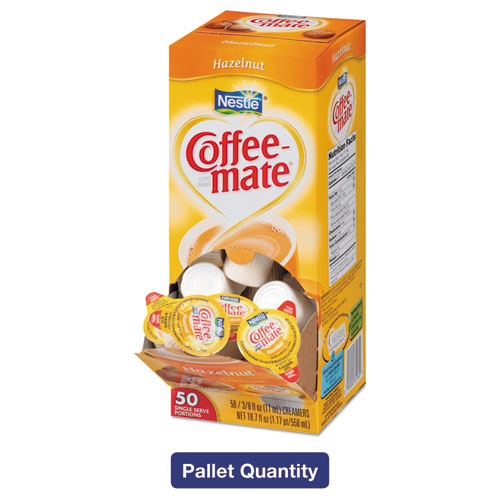 Liquid Coffee Creamer, Hazelnut, 0.38 oz Mini Cups, 50/Box, 4 Boxes/Carton, 130 Cartons/Pallet,  26,000 Total/Pallet