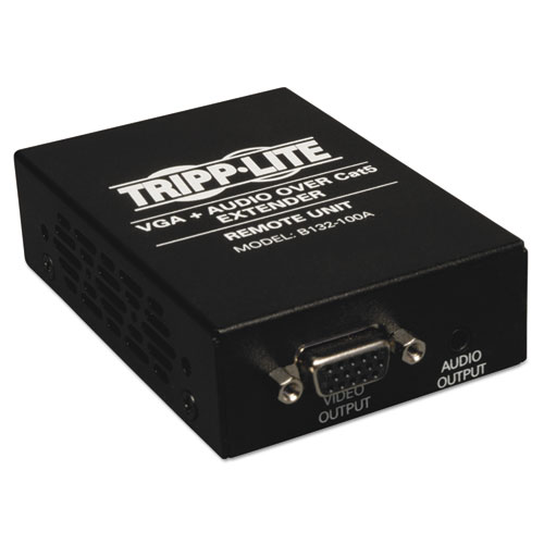 VGA w/Audio over Cat5/Cat6 Extender, Box-Style Receiver, Up to 1000 ft, TAA
