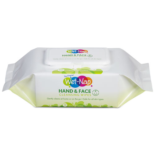 Wet-Nap® Hands and Face Cleansing Wipes, 6.45 x 8.45, Citrus, 24/Pack