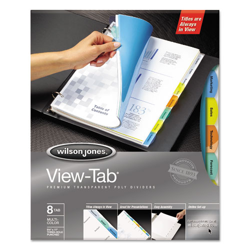 Wilson jones - view-tab transparent index dividers, 8-tab, square, letter, assorted, 8/set, sold as 1 st