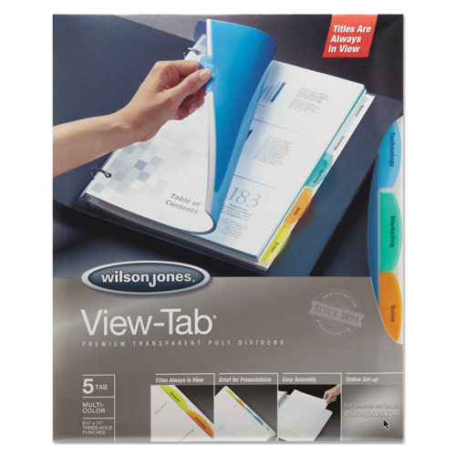 Wilson jones - view-tab transparent index dividers, 5-tab, square, letter, assorted, 5/set, sold as 1 st