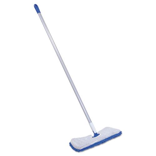 "Quickie® Flip & Shine Microfiber Floor Mop, 19 1/2"" Head, 48"" Handle, Blue/Gray"
