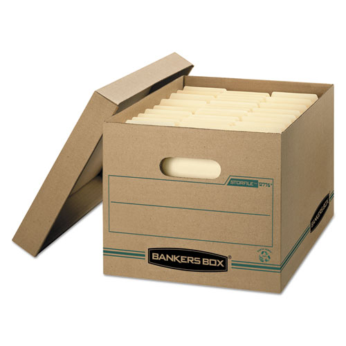 Bankers Box® STOR/FILE Storage Box, Letter/Legal, Lift-off Lid, Kraft/Green, 12/Carton