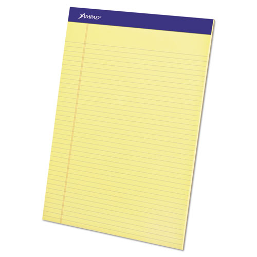 Ampad® Perforated Writing Pad, 8 1/2 x 11 3/4, Canary, 50 Sheets, Dozen