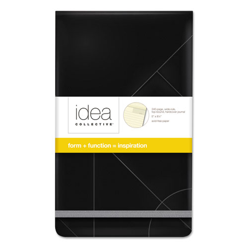 Idea Collective Journal, 1 Subject, Wide/Legal Rule, Black Cover, 5 x 8.25, 120 Sheets | by Plexsupply