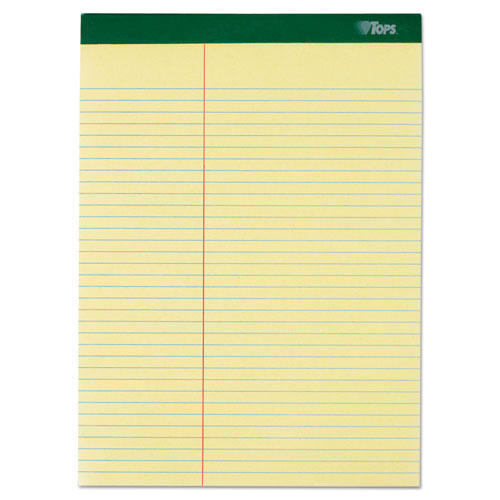 Double Docket Ruled Pads, Pitman Rule, 8.5 x 11.75, Canary, 100 Sheets, 6/Pack | by Plexsupply