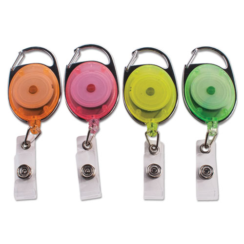 Carabiner-Style Retractable ID Card Reel, 30 Extension, Assorted Neon, 20/Pack