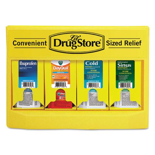 Cold and Flu Single Dose Dispenser, 170-Pieces, Plastic Case, Yellow/Black
