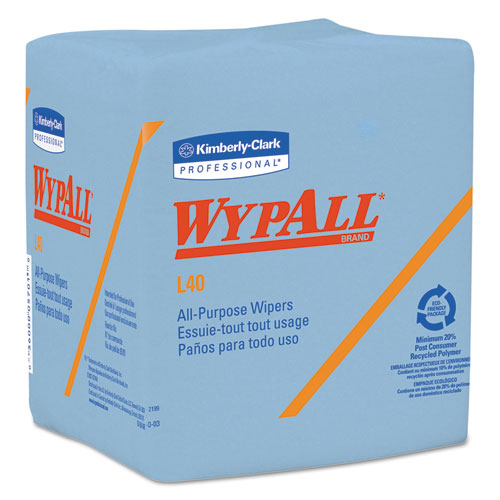 L40 Wiper, 1/4 Fold, Blue, 12 1/2 x 12, 56/Box, 12 Boxes/Carton 05776