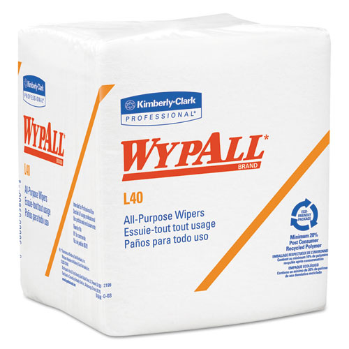 L40 Wipers, 1/4 Fold, White, 12 1/2 x 12, 56/Box, 18 Packs/Carton 05701