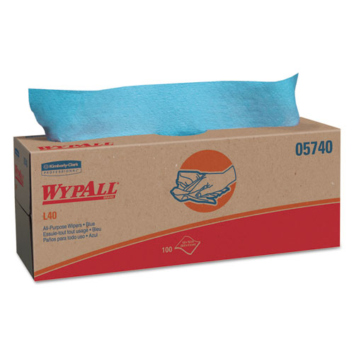 WypAll® L40 Towels, POP-UP Box, Blue, 16 2/5 x 9 4/5, 100/Box, 9 Boxes/Carton