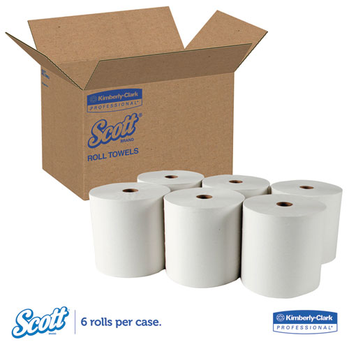 Essential High Capacity Hard Roll Towel, 1.5 Core, 8 x 1000 ft, Recycled, White, 6/Carton