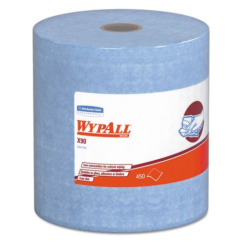 X90 Cloths, Jumbo Roll, 11 1/10 x 13 2/5, Denim Blue, 450/Roll, 1 Roll/Carton | by Plexsupply