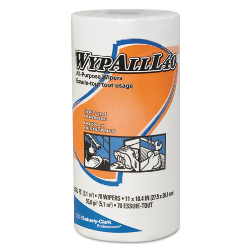 L40 Towels, Small Roll, 10 2/5 x 11, White, 70/Roll, 24 Rolls/Carton